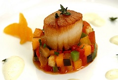 Sea Scallop Truffled Ratatouille and Clementine Beurre Blanc